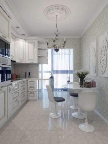 панорамные окна на балконе совмещённом с кухней