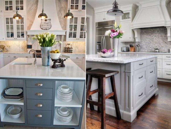 дизайн кухни с островом и встроенными шкафами