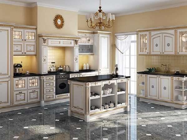 дизайн кухни в классическом стиле с островом