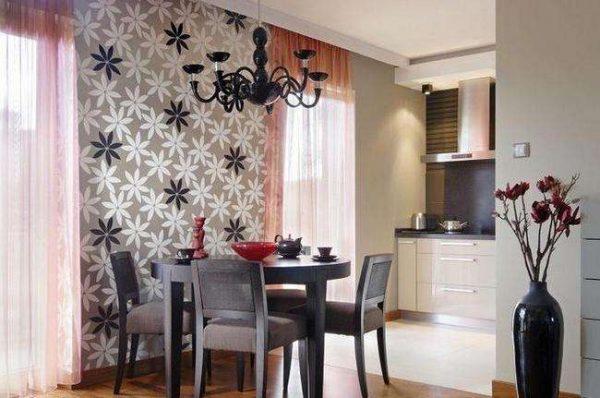 зонирование кухни от зала с помощью обоев