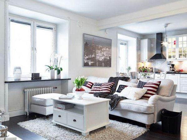 зонирование кухни от гостиной с помощью дивана