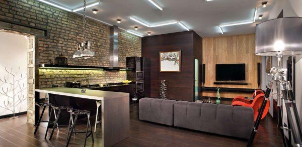 совмещённая кухня с гостиной в стиле лофт
