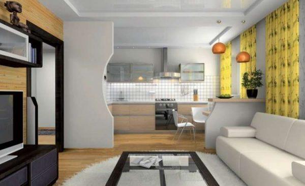 зонирование перегородкой на совмещённой кухне с залом