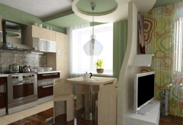 декоративная перегородка на совмещённой кухне с гостиной