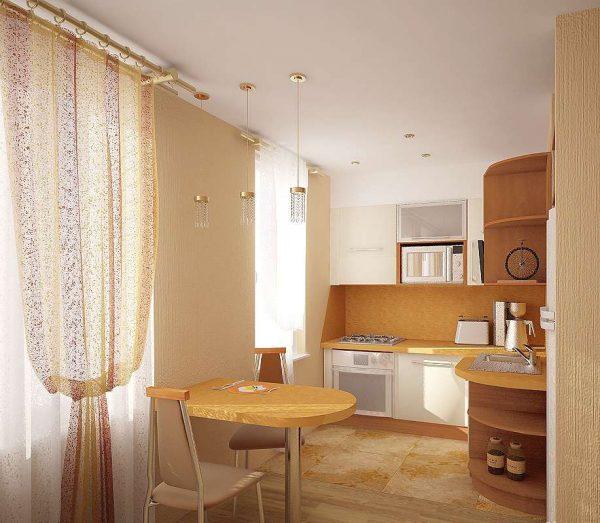небольшой столик на совмещённой кухне с залом в хрущёвке
