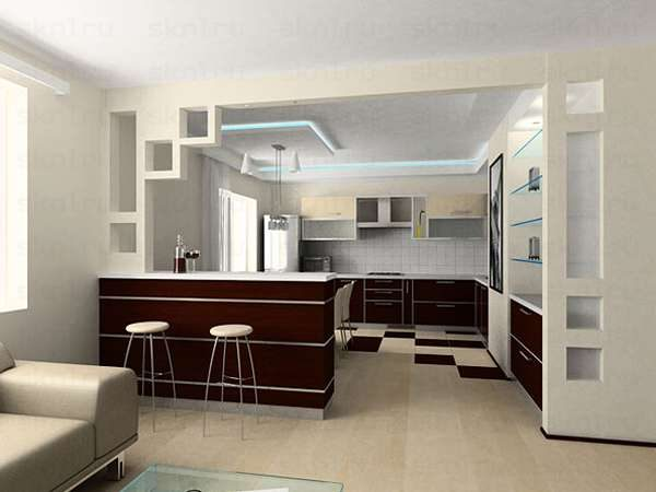 зонирование кухни от гостиной перегородкой и барной стойкой