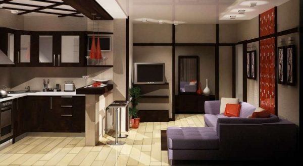 угловой диван и угловой кухонный гарнитур на совмещённой кухне с залом в хрущёвке