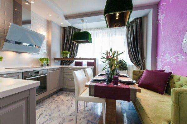 прямой диван для кухни