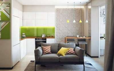 прямой диванчик на угловой кухне