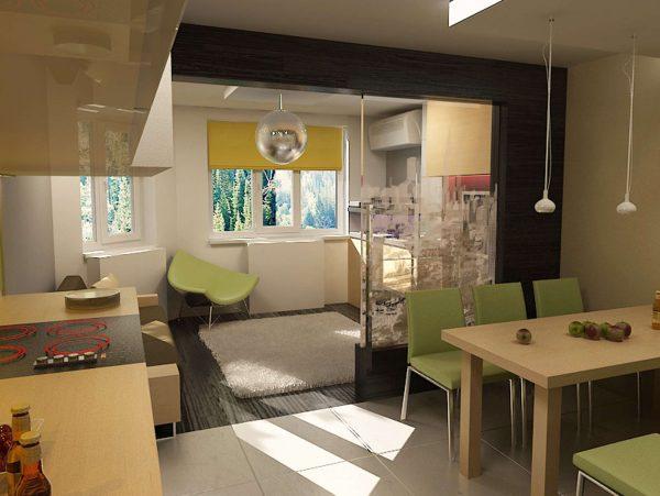 Объединение кухни с гостиной и зонирование