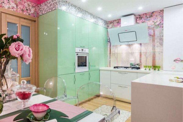 пастельные цвета на П-образной кухне