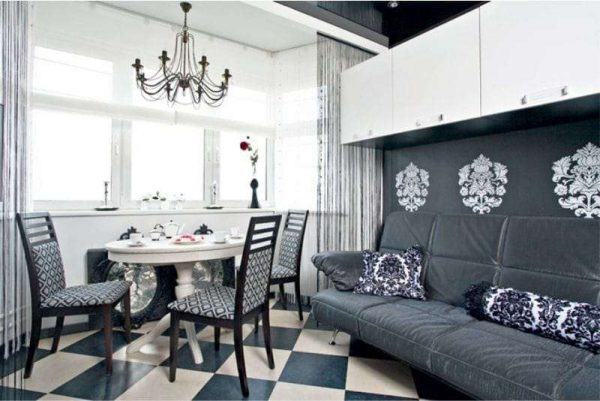 серый цвет на просторной кухне