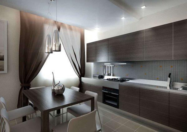 линейная кухня подходит для больших кухонь