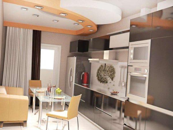 линейный гарнитур с холодильником на кухне