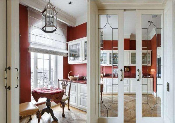 коричневые стены на белой кухне в английском стиле