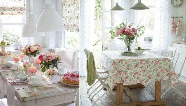 текстиль в розочках на кухне в английском стиле
