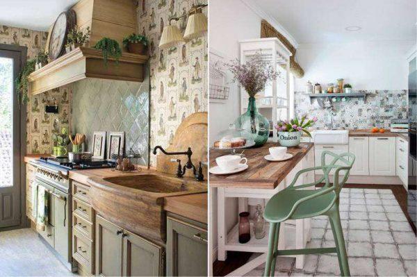 стильный декор на кухне оливкового цвета