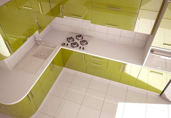 угловой кухонный гарнитур оливкового цвета