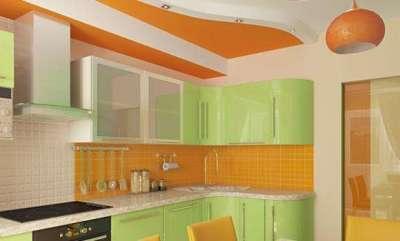 оранжевый с салатовым цветом на кухне