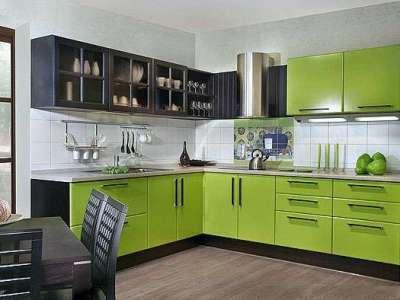 интерьер кухни в салатово-чёрном цвете