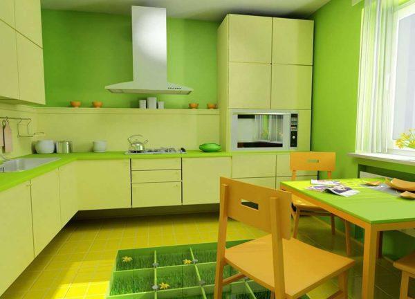 интерьер кухни в салатовом цвете с жёлтым полом