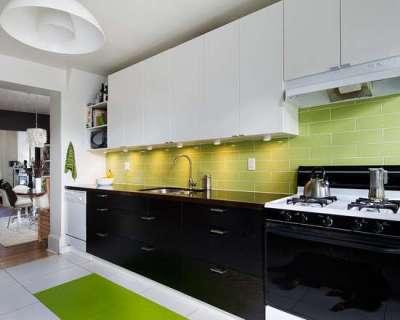 салатовый фартук на кухне