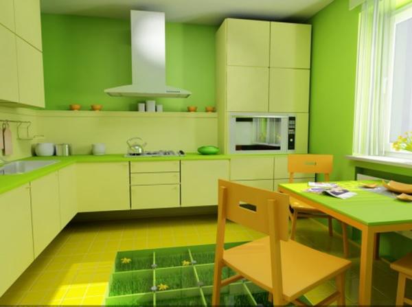 салатовые оттенки на кухне
