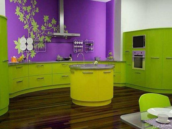 салатовый с фиолетовым на кухне