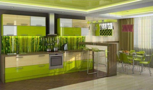 сочный салатовый цвет в интерьере кухни