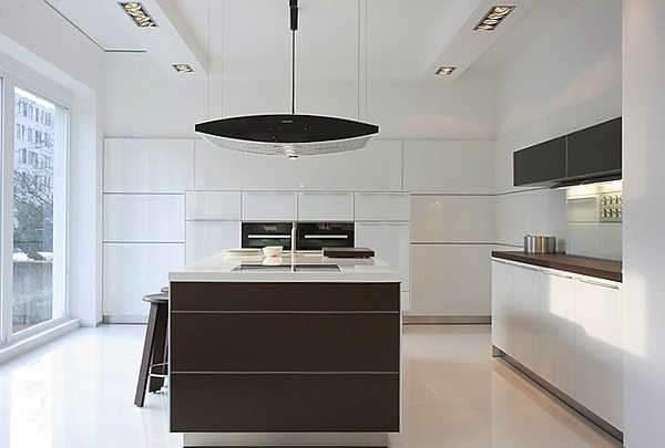 белый потолок на кухне в стиле минимализм