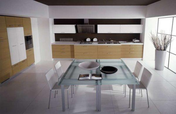 обденый стол на кухне в стиле минимализм