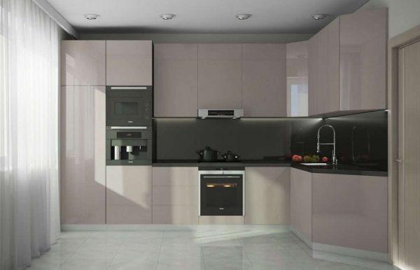 угловая бежевая кухня в стиле минимализм