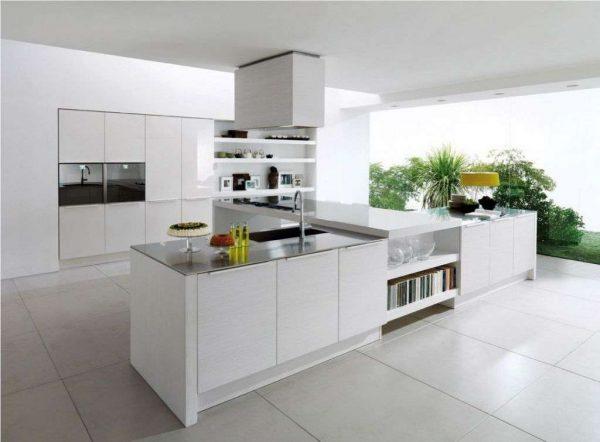 белая островная зона на кухне в стиле минимализм