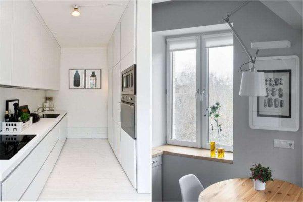 белая узкая кухня в минималистическом стиле