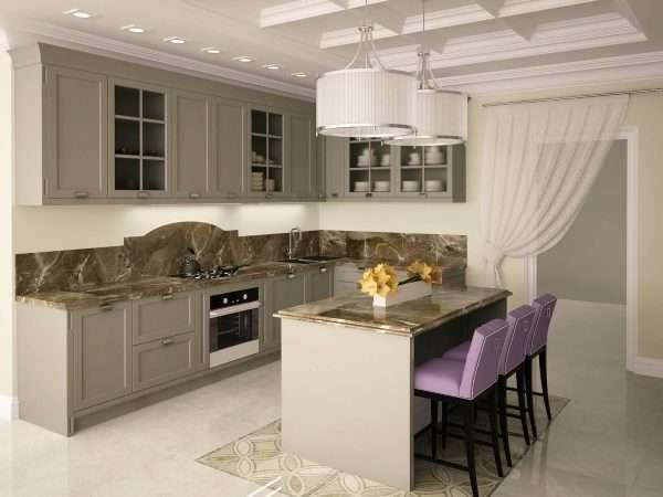 керамическая плитка на полу кухни в стиле неоклассика