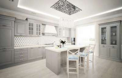 серый гарнитур в стиле неоклассика на кухне