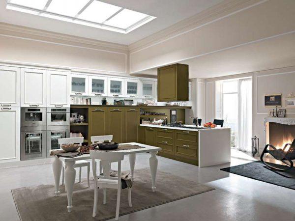 оливково-белая кухня в стиле неоклассика