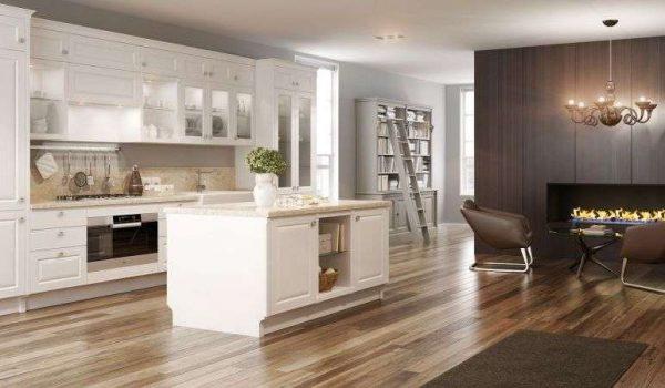 белый кухонный гарнитур на кухне в стиле неоклассика
