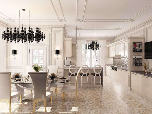чёрные стильные люстры на кухне в стиле неоклассика
