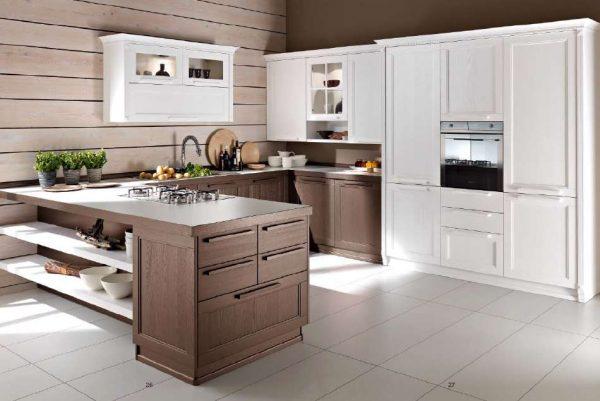 деревянные панели на стенах кухни в стиле неоклассика