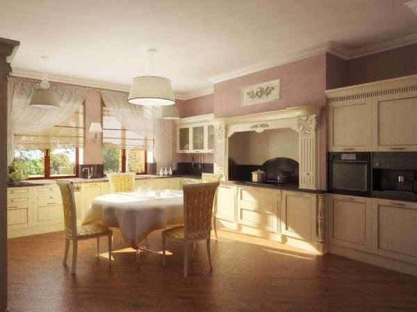 большая кухня в стиле неоклассика