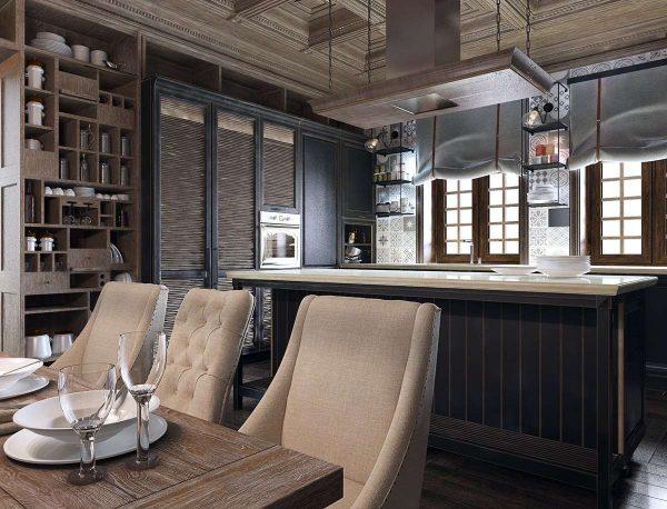 деревянные панели на кухне в стиле неоклассика