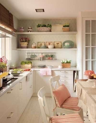 розовый цвет на кухне в стиле прованс