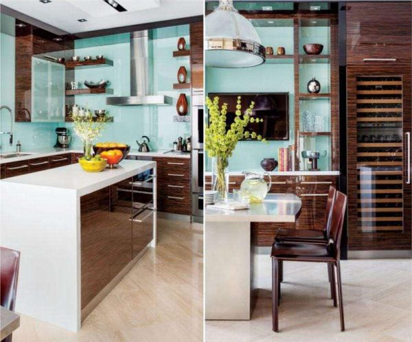 Г-образная кухня в японском стиле с островом