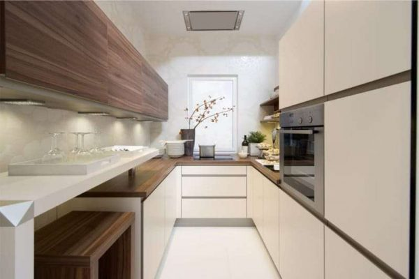 П-образная кухня в японском стиле