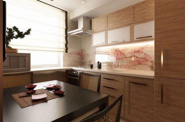 рулонные шторы на кухне в японском стиле
