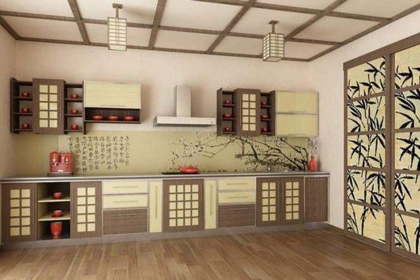 прямой гарнитур на кухне в японском стиле
