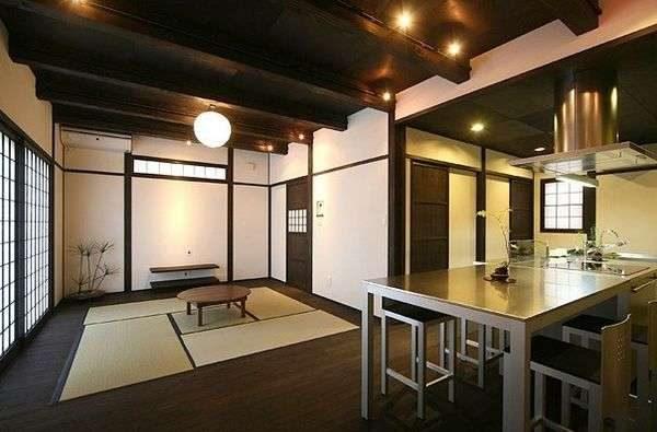 обеденный стол на кухне в японском стиле