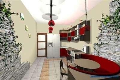 красный цвет на кухне в японском стиле