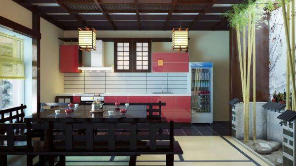 деревянный потолок на кухне в японском стиле